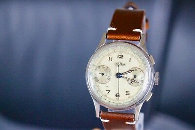 SUPERB ST.STEEL VINTAGE ANGELUS CHRONOGRAPH WATCH ORIGINAL DIAL SERVICED 215 Cal