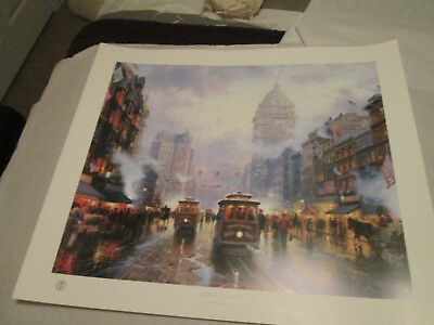 """San Francisco, Market Street"" ORIGINAL & SIGNED w DNA by Thomas Kinkade w CoA"