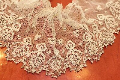 antique lace tambour  lace ecru ruffle collar doll dress victorian