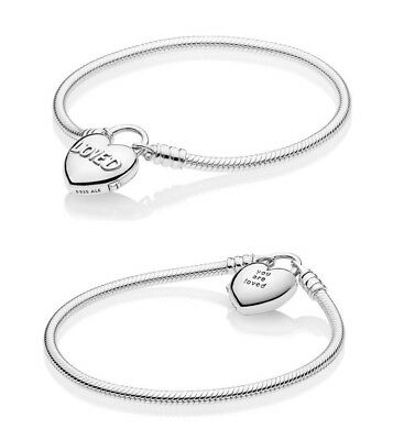 NEW Authentic PANDORA You Are Loved Heart Padlock Charm Bracelet #597806
