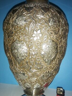 Museum Antique Islamic Qajar Indo-Persian Silver Vase 84 Marked repousse birds