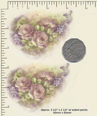 """2 x Ceramic decals Decoupage Pink roses lilac flowers Floral 3 1/2"""" x 2 1/2"""" A14"""