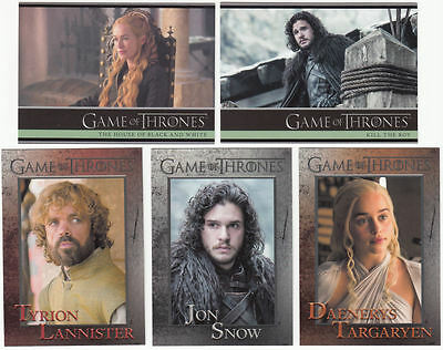 Game of Thrones Season 5 Complete Card Set (100) plus 2 insert sets