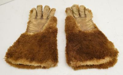Vintage 1940's Wool Gauntlet Sleigh Coach Driver Trapper FUR GLOVES