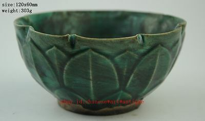 Anciet antique Chinese The song dynasty style Green glaze porcelain bowl b01