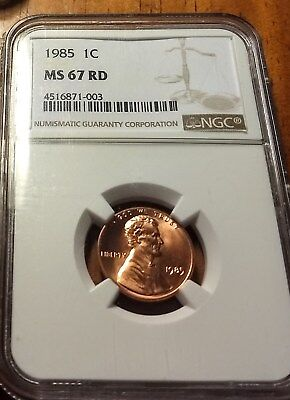 Beautiful Red 1985 Lincoln Memorial Cent NGC MS-67 High Grade Coin Tough Grade!!