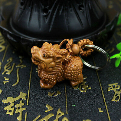 Charm Wood 3D Carving Wealth Pixiu Statue Sculpture Pendant Lucky Key Chain Gift