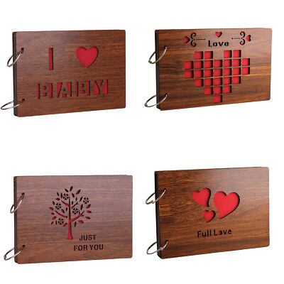 Romance Pairs Love Hearts Wood Photo Album 8 Inch Memory DIY Photos Book