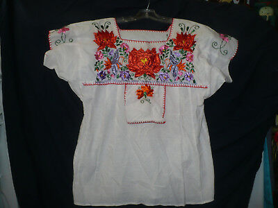 White Cotton Top Bright Multi Color Embroidery Flowers Birds Front Flap ML
