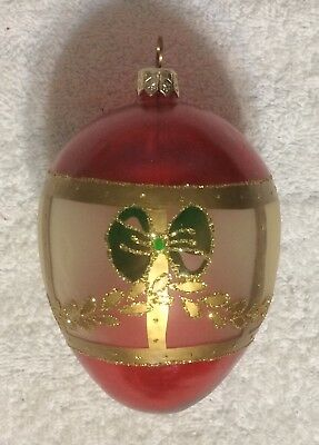 "Red Gold Green Opaque White Egg Blown Glass Christmas Ornament Poland: 4.5"" Tall"