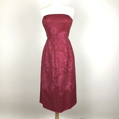 33bfc9ab79a09 Nanette Lepore Women s Size 8 Red Paisley Print Strapless Cocktail Party  Dress