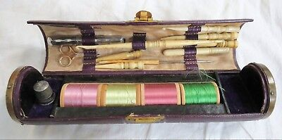 Needlework Tools Sewing Set Etui Leather Case w/Sterling Thimble Old Vtg Antique