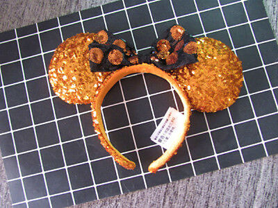 NEW Disney Parks Gold Minnie Mouse Bow Sequins Ear Headband Ears