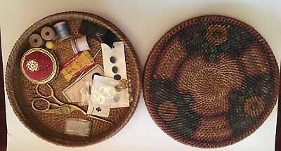 Vintage Round Woven Sewing Basket with Painted Flowers on Lid+Contents- Scissors