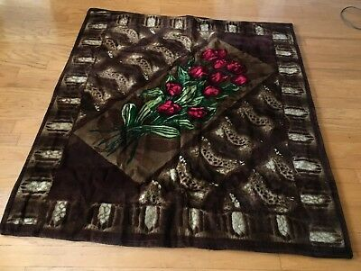 VINTAGE CHASE CARRIAGE BUGGY LAP ROBE BLANKET -RED TULIPS - Nice Condition