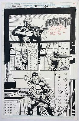 Punisher Summer Special 3 pg 21 Original Art Tony Harris Punisher vs. Psycho Cop