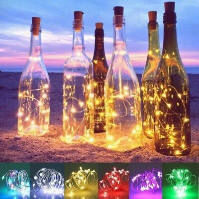20x LED Solar Power LampsCopper Wire Cork Shape Wine Bottle Fairy String Light