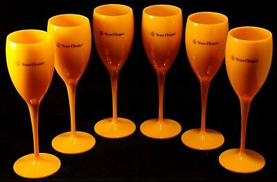 Veuve Clicquot Yellow Label Acrylic Champagne Flute Glasses Brand New Set x 8!