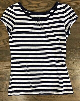 The Childrens Place Blue White Striped Top Size M 7/8 EUC