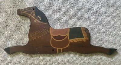 Vintage PAINTED WOODEN CHILD'S ROCKING HORSE SIDE PANEL, c. 1875-1910