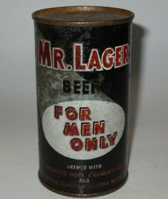 Mr. Lager flat top beer can, Fox Head, Waukesha, WI, 1950s