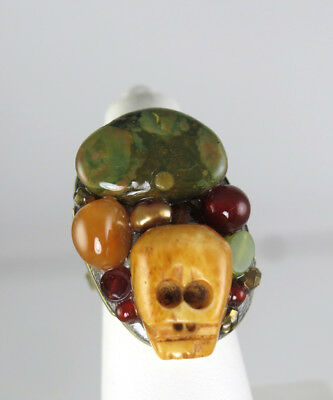 MICHAL GOLAN GEMSTONE CARVED SKULL gold RING Jasper Carnelian Pearl MOVING SALE