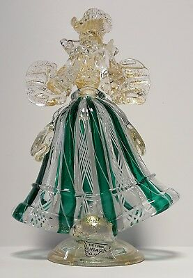 Murano Glass Venetian Lady in Green and White with gold leaf flecks Beautiful