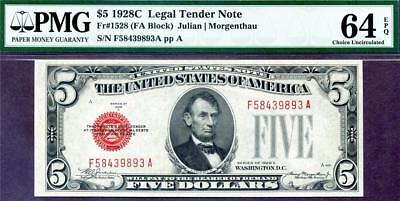 HGR SUNDAY 1928C $5 Legal Tender ((2of2 Consecutive#)) PMG CHOICE UNC 64EPQ