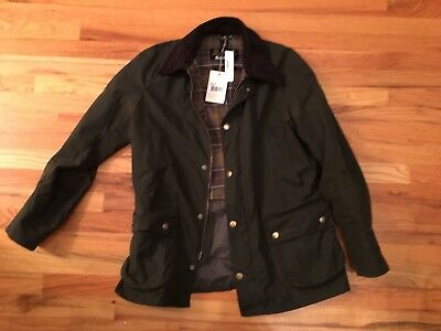 Barbour Ashby Size Large Olive Green Wax Cotton Jacket Style #MWX0339OL71 CB8