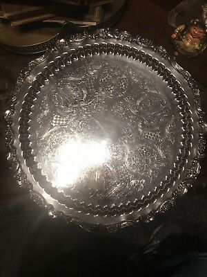 "Large 17"" Vintage Footed Round Silverplate Tray Lovely!"