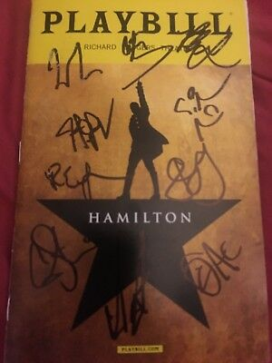 Hamilton Original Broadway Cast Signed Playbill Lin Manuel Miranda Groff Smudge