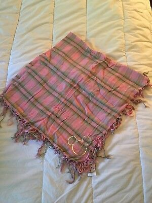 Pink Plaid Mickey Mouse Disney Scarf - New without Tags