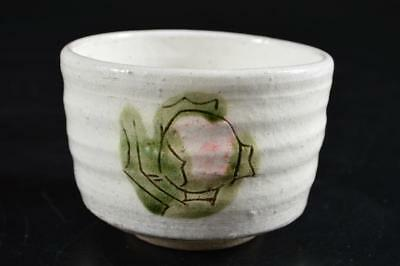 G3847: Japanese Seto-ware White glaze Colored porcelain Flower pattern TEA BOWL