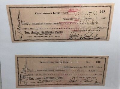 (4) 1942-44 Frenchtown Lions Club The Union National Bank Checks Del Valley News