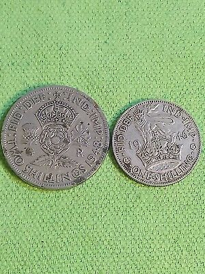 Lot of 2 uk english coins 1 2 shillings shilling 1946 1948