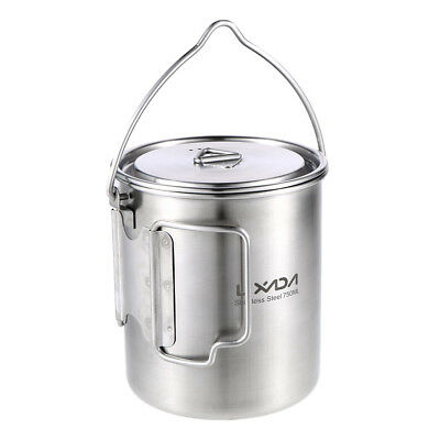 Lixada 750ml Stainless Steel Pot Portable Water Mug Cup with Lid Foldable X5L5