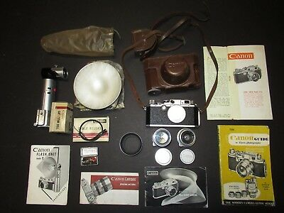 Canon IV SB2 (IVS3) Rangefinder 35mm camera with 2 lenses, flash and accessories