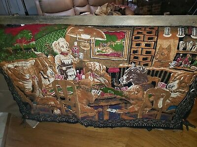 "VTG ""Dogs Playing Poker"" Tapestry Wall Hanging 38"" x 58"", Made In Turkey, Cotton"