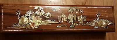 Wooden Chopstick Box Inlaid w/Mother of Pearl and 10 Pair Chopsticks