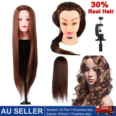 26'' 30%Real Human Hair Practice Hairdressing Training Head Mannequin Doll Clamp
