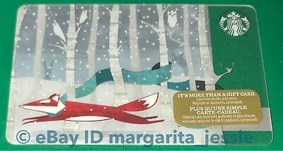 "Starbucks Canada Series Gift Card ""fox On The Run"" 2017 New No Value Holiday"