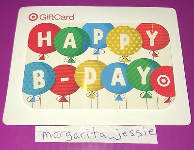 """Target 2013 Gift Card """"happy B-Day"""" Colored Balloons No Value Collectible New"""