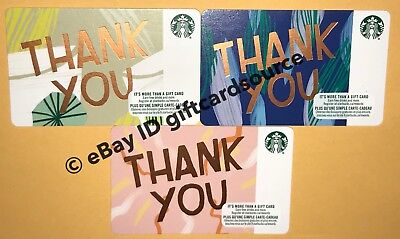 Starbucks 2018 Gift Card Thank You Set Of 3 Recycled Paper Yellow Pink Blue Lot