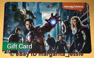 "Family Video Gift Card ""the Avengers"" Iron Man Black Widow Thor Hulk No Value"