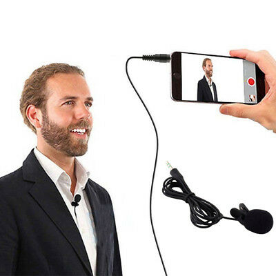 3.5mm Clip on Lapel Mini Lavalier Mic Microphone For Mobile Phone PC Recording