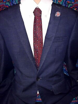 Vintage TREVIRA reds SKINNY tie metallic polyester 60TS MOD INDIE RETRO SCOOTER.