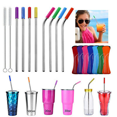 Eco Reusable Stainless Steel Metal Extra Wide Drinking Straw Straws + Brush bag