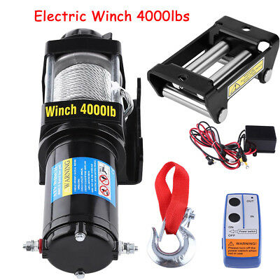 4000lb Electric Recovery Steel Cable Winch 12V Remote Control Rope Trailer Boat