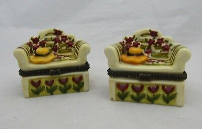 Pair of Limoges Style Hinged Sofa Bench Floral Ceramic Trinket Box Boxes Hat Bow
