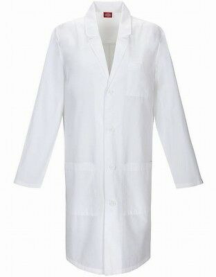 Dickies NEW White Unisex Mens USA Large L Notch-Collar Long Lab Coat $38 #282